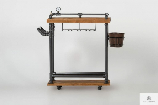Industrialny barek na kolkach drewniany wozek barmanski DENAR find us on https://www.facebook.com/RaWoodpl/