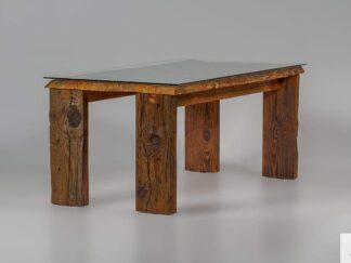 Stol ze starego drewna ze szklem WERD find us on https://www.facebook.com/RaWoodpl/