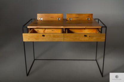 Industrialne biurko ze starego drewna litego find us on https://www.facebook.com/RaWoodpl/