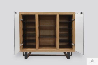 Dębowa komoda ze szkłem do salonu gabinetu MOCCA Producent Mebli RaWood Premium Furniture