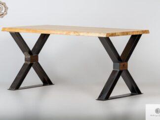 Stol debowy loft industrialny nogi X do jadalni BREGON find us on https://www.facebook.com/RaWoodpl/