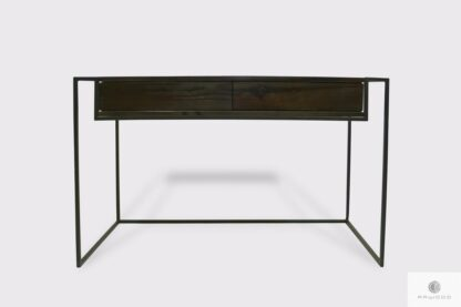 Industrialne biurko z drewna litego kolor wenge z szufladami do gabinetu Producent Mebli RaWood Premium Furniture