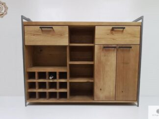 Industrialny barek na alkohole z drewna do jadalni salonu kuchni Producent Mebli RaWood Premium Furniture
