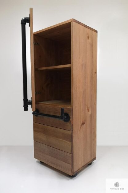 Industrialny slupek z drewna litego do salonu DENAR find us on https://www.facebook.com/RaWoodpl/