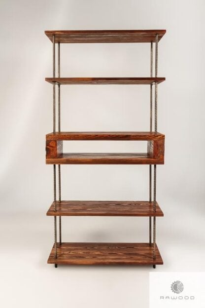 Regał industrialny z drewna litego do salonu HEGEL Producent Mebli RaWood Premium Furniture