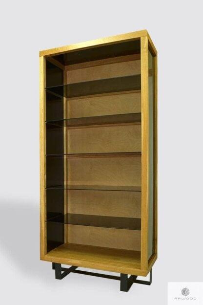 Rustykalna witryna dębowa regał do salonu gabinetu MOCCA Producent Mebli RaWood Premium Furniture