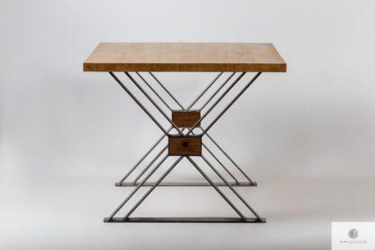Stol debowy loft industrialny nogi X do jadalni BREGON Producent Mebli RaWood Premium Furniture