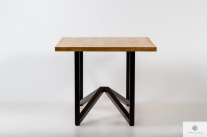 Stol z debowym blatem na metalowych nogach do jadalni INDRA Producent Mebli RaWood Premium Furniture