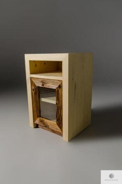 Szafka nocna z drewna litego bielonego i szkla zbrojonego AMBER II Producent Mebli RaWood Premium Furniture