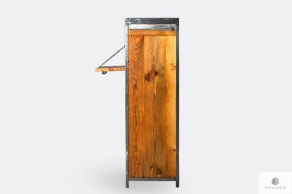Barek alkoholowy z drewna litego stali do salonu