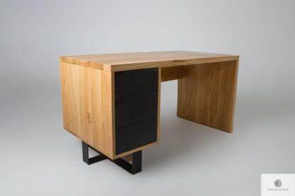 Biurko dębowe z szufladami z metalowymi nogami MOCCA