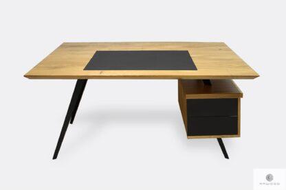 Biurko gabinetowe z drewnianym blatem i czarną wstawką z kontenerkiem VITA
