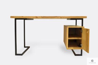 Biurko z dębowego drewna litego metalu OLIMPIA