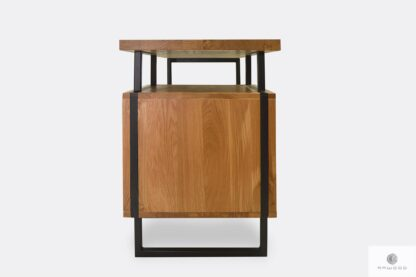 Biurko z dębowego drewna litego z metalowymi nogami HUGON