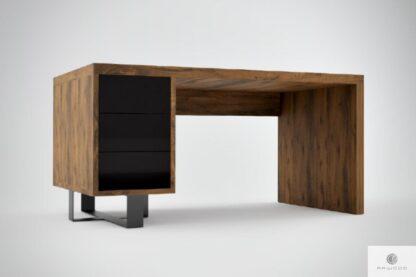 Biurko z drewna litego dębowego i czarnej stali do gabinetu MOCCA