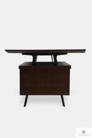 Biurko z litego drewna z szufladami i czarnymi metalowymi nogami VITA