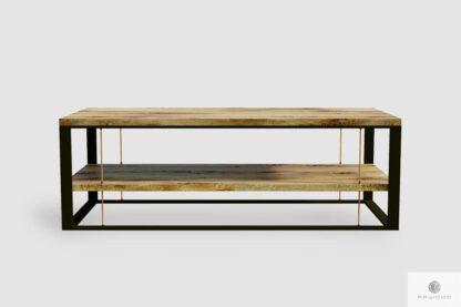 Dębowa ława z półką industrialna z litego drewna do salonu IBSEN