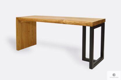 Dębowa ławka industrialna z litego drewna stali HUGON