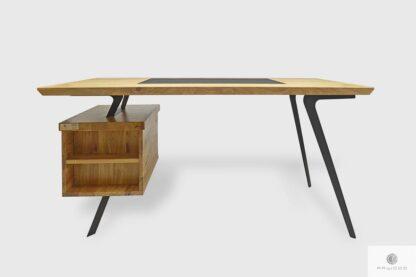 Dębowe biurko open space z szufladami i półkami do gabinetu VITA