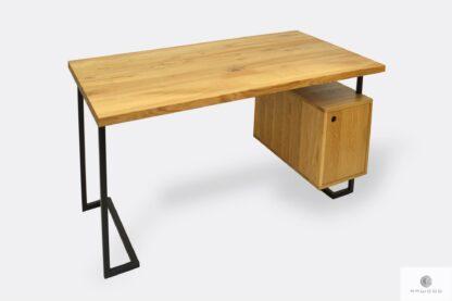 Dębowe biurko z czarnymi metalowymi nogami do biura OLIMPIA