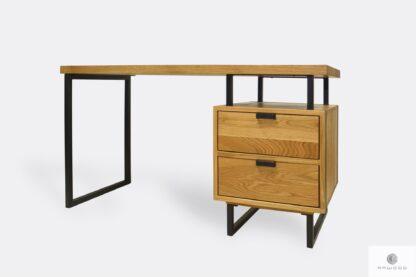Dębowe biurko z czarnymi metalowymi nogami HUGON