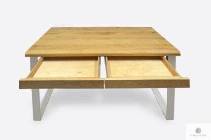 Dębowe biurko z szufladami i białymi metalowymi nogami MERGE