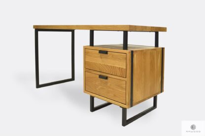 Dębowe industrialne biurko z szufladami do gabinetu HUGON