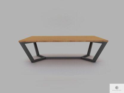 Dębowy stół masywny konferencyjny z metalowymi nogami do jadalni ELLE