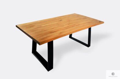 Stół z naturalnym dębowym blatem