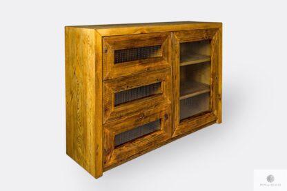 Designerska komoda z drewna i szkła do salonu AMBER