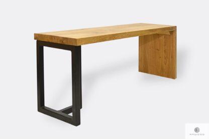 Designerska ławka dębowa z metalowymi nogami HUGON