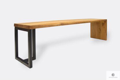 Designerska ławka z drewna i metalu do przedpokoju jadalni HUGON