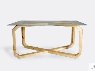 Designerski stół ze szklanym blatem i drewnianą podstawą OMNIS