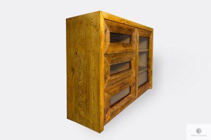 Drewniana komoda z szufladami z drewna litego do salonu AMBER