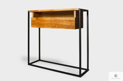 Drewniana konsola loftowa z szufladami do przedpokoju