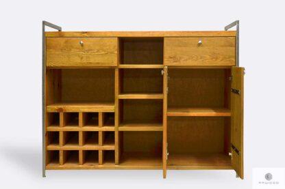 Drewniany barek alkoholowy z półkami szafkami pojemny do jadalni