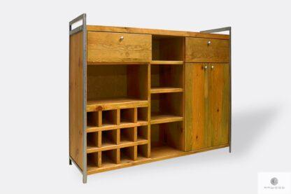 Drewniany barek loft domowy z półkami szufladami do salonu kuchni