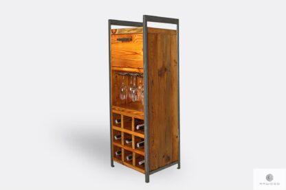Drewniany barek na alkohol z półkami na butelki do salonu
