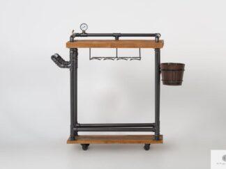 Drewniany barek na kółkach mobilny industrialny wózek barmański DENAR