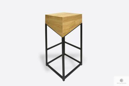 Drewniany hoker w industrialnym stylu do jadalni ALEX