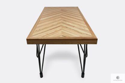 Drewniany stół z metalowymi czarnymi nogami do jadalni IFUX