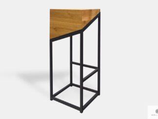 Hoker krzesło barowe dębowe drewno lite metal ALEX
