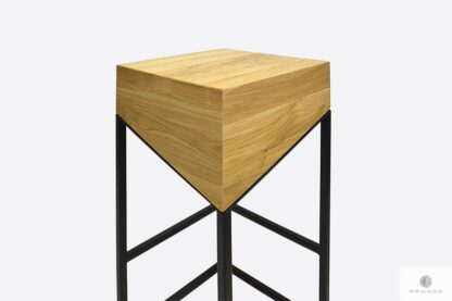 Hoker krzesło barowe z dębowego drewna metalu do kuchni ALEX