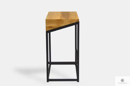 Hokery krzesła barowe z drewna litego z metalowymi nogami ALEX