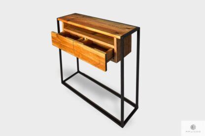 Industrialna konsola drewniana z szufladami do przedpokoju