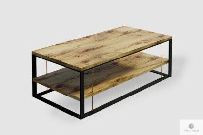 Industrialna ława z litego drewna oraz stali do salonu IBSEN
