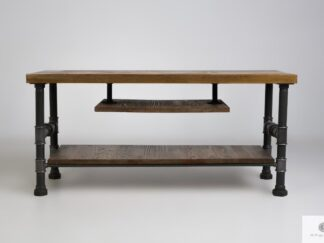 Industrialna szafka stolik RTV z drewna litego do salonu DENAR