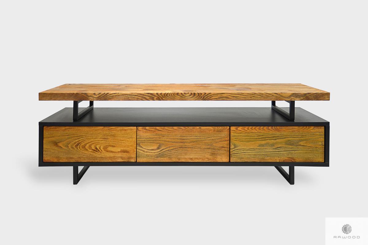 Industrialna szafka z litego drewna z szufladami do salonu NESCA II