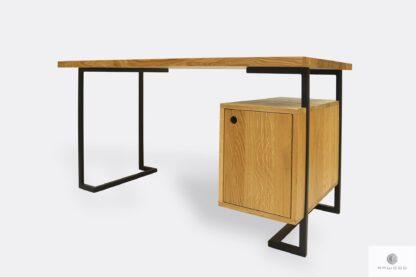 Industrialne biurko z drewna litego do gabinetu OLIMPIA