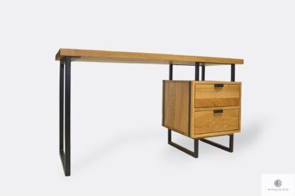 Industrialne biurko z drewna litego stali do biura HUGON